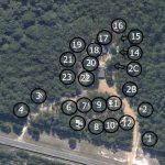 Sites marked on Park Aerial Rayburn RV Hideout